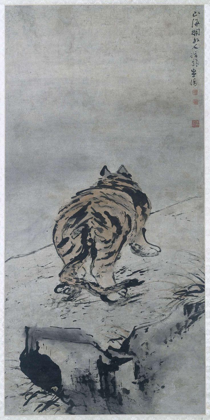 Gao Qipei | Tijger, Gao Qipei, c. 1671 - c. 1734 | Een oude tijger van achter afgebeeld, lopend op een rotspad.