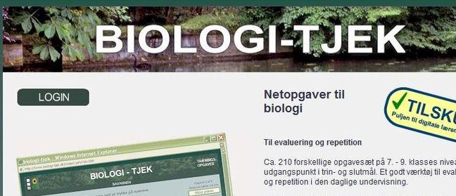 BIOLOGI-TJEK er et site med trænings- og tekstopgaver til repetionsbrug