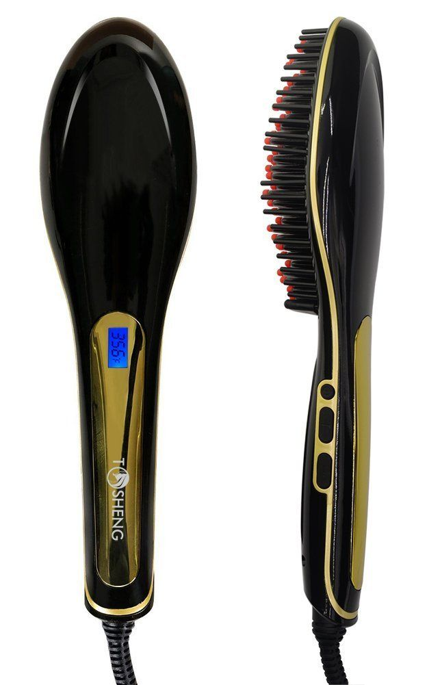 Tosheng Electric Ceramic Hair Straightener Brush, Black ** Wow! I love this. Check it out now! : Travel Hair care