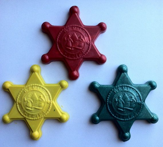 Sheriff badge crayon - Birthday  - Party favor police- set of 6 sherif badge crayons on Etsy, $5.99