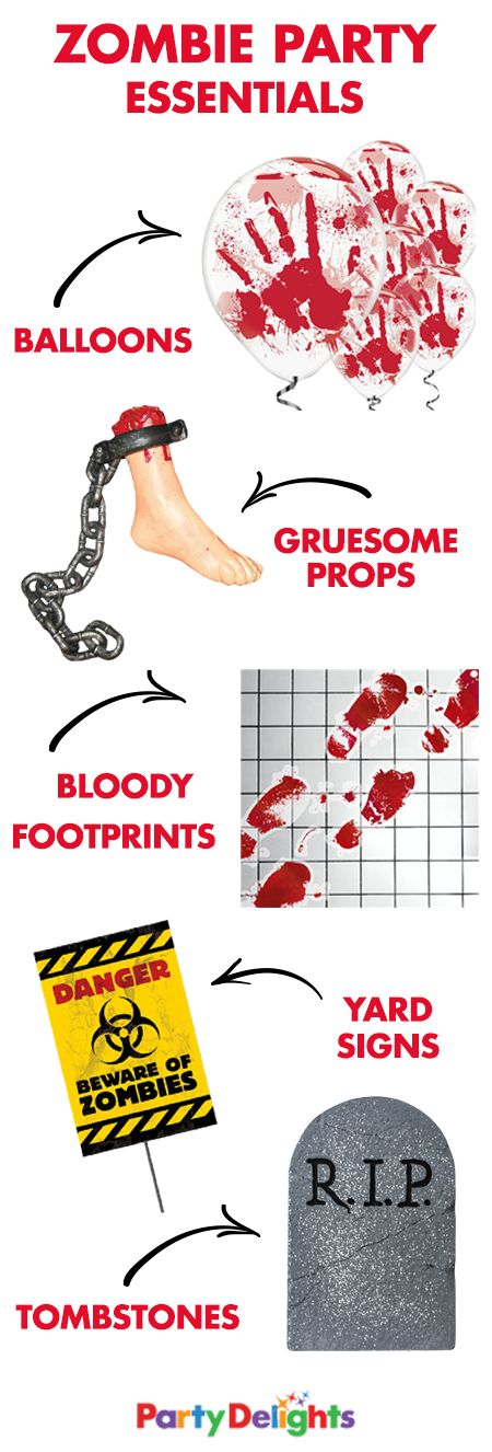 Throw a gruesome zombie apocalypse party with these zombie party essentials! From bloody zombie props to other essential zombie decorations, you'll find everything you need for the Halloween party of the century at partydelights.co.uk.