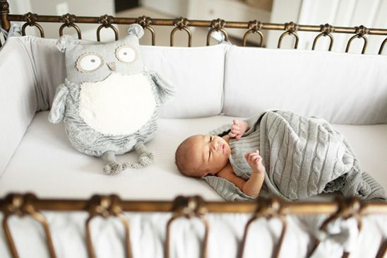 Soft, Neutral Nursery...I am not even close to having a baby but look how cute that bed is!