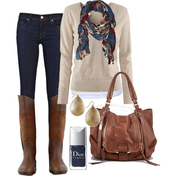 blue/tan/cream This is pretty much my uniform in the fall - skinny jeans, boots, sweater, and a scarf.