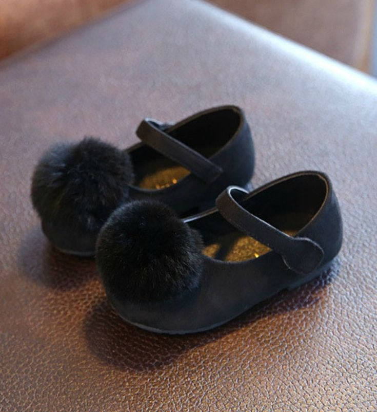 Toddler Shoes-Super Soft & Comfortable Flat Shoes! Black Feather Pom Pom Litte Girl Shoes Material: Suede, feather & rubber Perfect for weddings, birthday, communion, baptism, christmas or baby shower gift