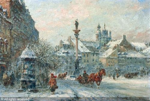 'Royal Palace Square in the Winter' - Władysław Chmieliński
