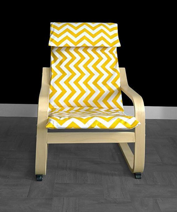 IKEA KIDS POÄNg Cushion Slipcover Yellow Chevron By RockinCushions
