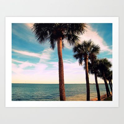 PALM TREES ALONG THE OCEAN Art Print by Diane Perkins Photography - $16.00