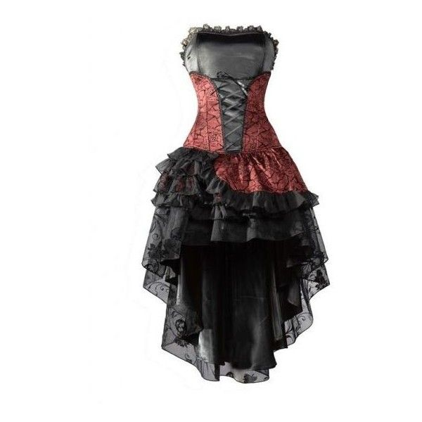 Red and black lace corset dress ❤ liked on Polyvore