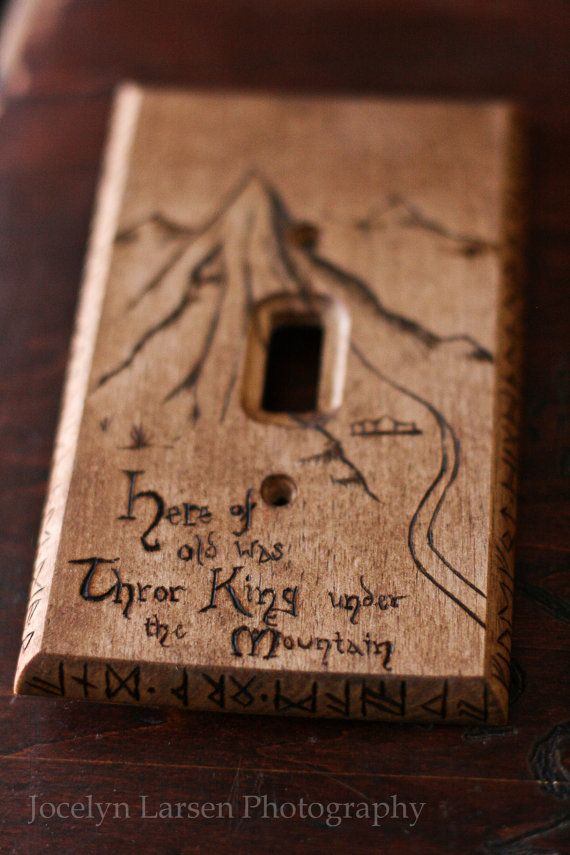 The Hobbit Lonely Mountain map light switch by TheGypsysSatchel, $32.00
