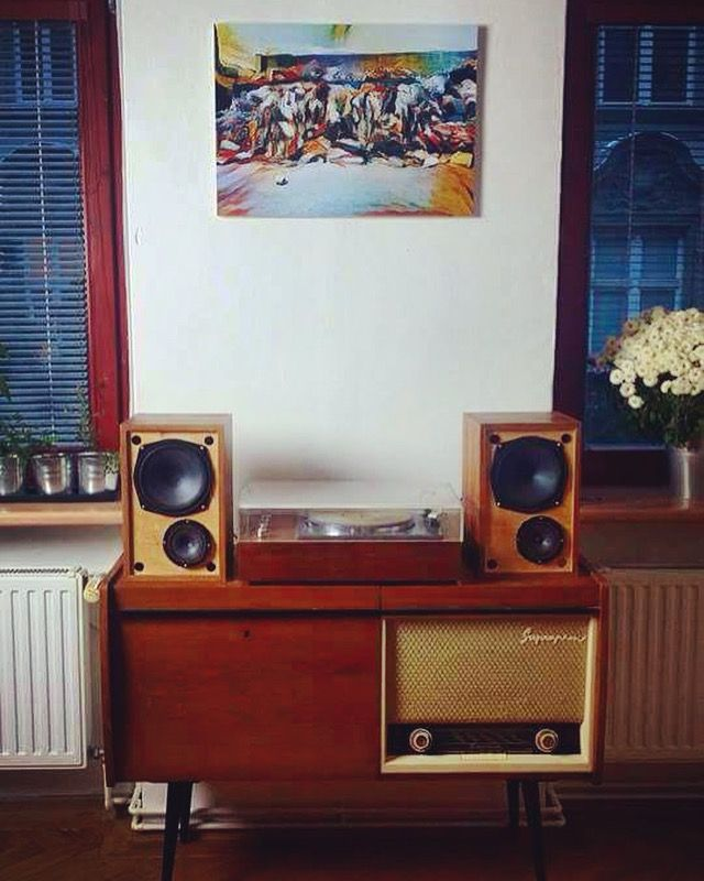 Dysfunctional music cabinet Suprafon, 1960s Czechoslovak Tesla. One guy, 80 CZK.  Gramophone with speakers, 1968-1970 Tesla Retro Recycle Shop, 1000 CZK  The original author's picture of digital composition. Foundation auction 500 CZK  #Suprafon #music #gramophone #cabinet #musiccabinet #speakers #tesla #1960 #picture #auction #bazar #secondhand