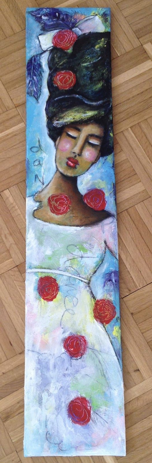 """The Dancer"" mixed media canvas  natural hair art"