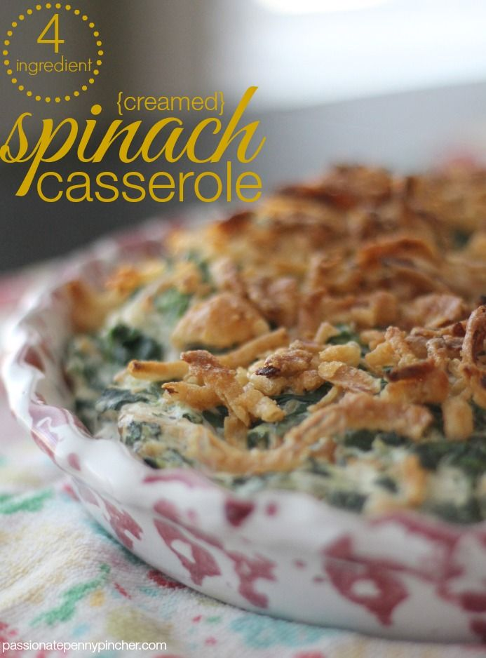 Creamed Spinach Casserole - only 4 ingredients and perfect for Easter Sunday brunch!