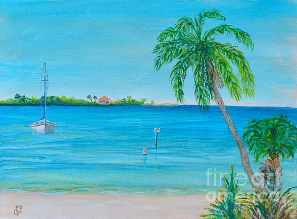 Painting by Christine Dekkers, Cape Coral Beach, Plein Air painting,  painted in Cape Coral, Florida  christinedekkersdeisgns.com