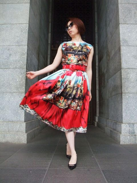 Theater Printed Midi Dress