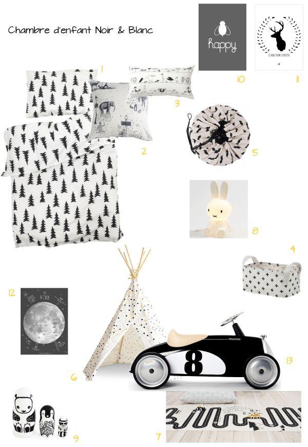 planche d'idées shopping list pour décoration de chambre d'enfant en noir et blanc