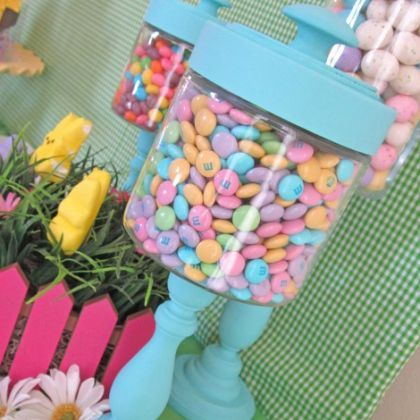 Candlestick jars for displaying candy...going to do this for work! Thank you