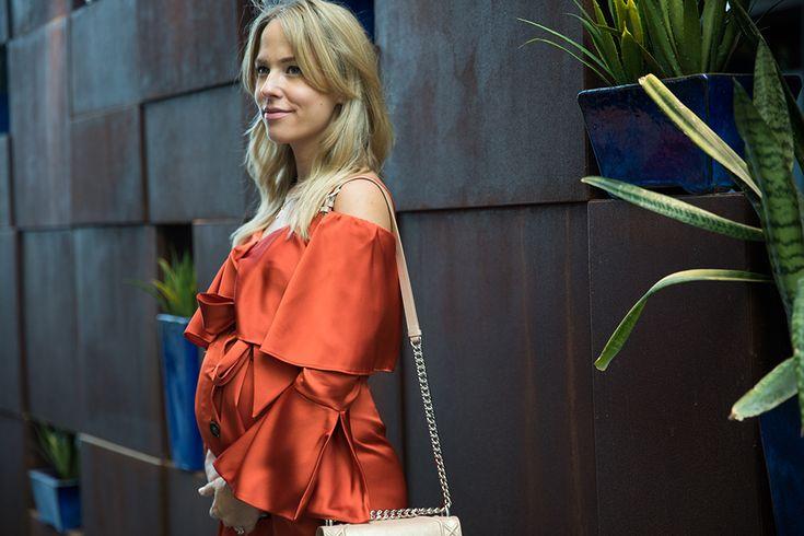 Maternity Style: Satin Slip Dress