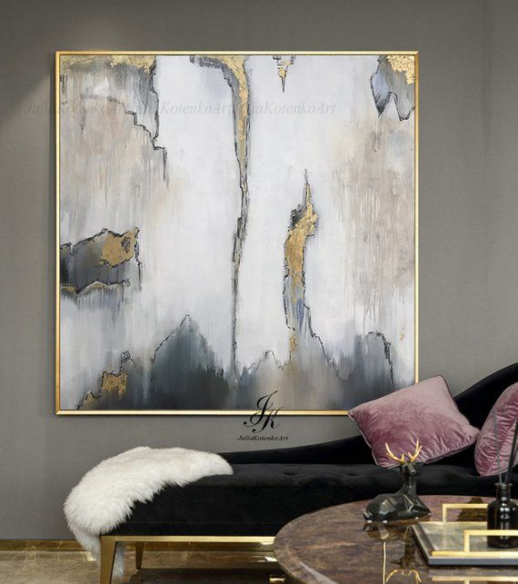 Original Large Abstract Painting Gold Leaf Painting Human Etsy Abstract Art Painting Modern Abstract Painting Modern Art Paintings Abstract