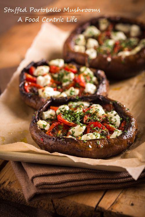 Stuffed Portobello Mushrooms With Roast Tomatoes and Goat Cheese