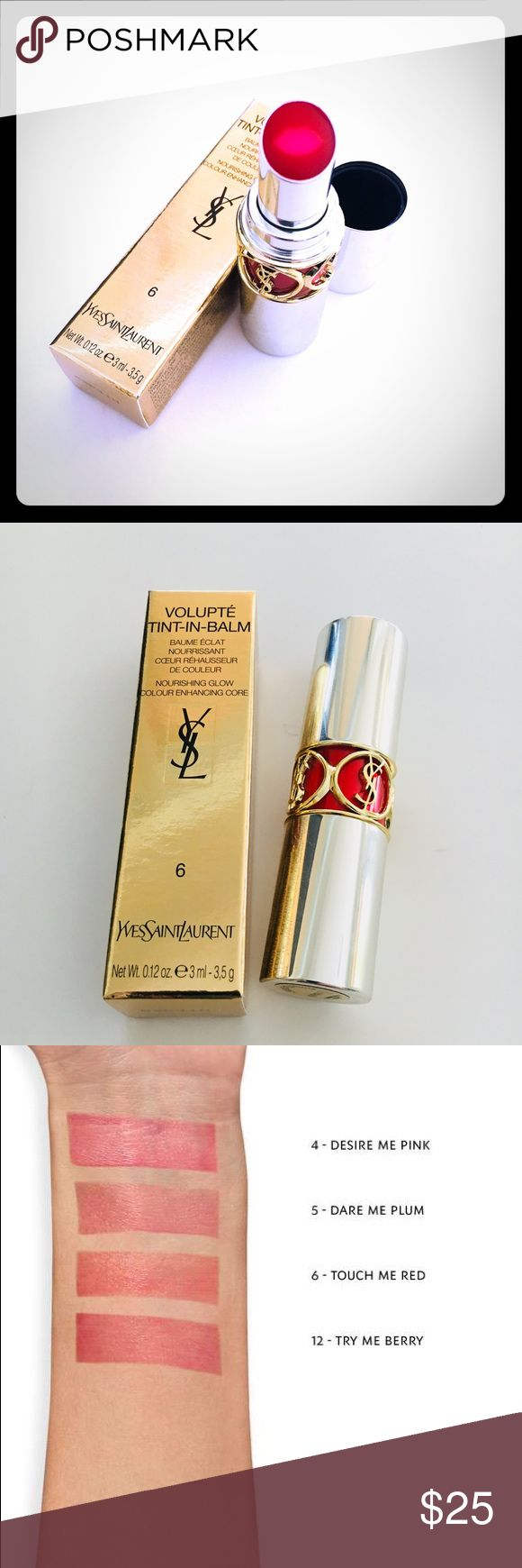Yves Saint Laurent volupté tint in balm - red Number 6 - touch me red  What it is: A new hybrid lipstick combining melting balm care with glowing sheer color.  What it does: A unique dual formula leaves lips nourished with a lasting kiss of tint. The lip-shaped heart of the lipstick running from top to bottom delivers instant balm care. With macadamia and apricot butters, mixed with passionfruit, coriander and jojoba oils, the care is comfortable and nourishing. The outer core of the…