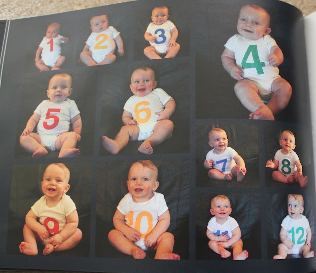 Take a picture of your baby every month in the same spot.  Onesies were just white onesies with numbers stenciled with paint.