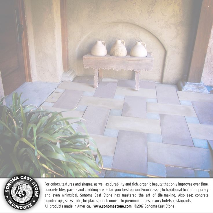 #Architects and #designers love #sonomacaststone #concrete tiles. There is no material like concrete to match any surface, or form any shape. It can be made in any color and has lasted since the Roman Aqueducts. Concrete #tiles, #pavers and #cladding can express any decor: rustic to urban to whimsical. All #countertops, #sinks, #tubs made in the US from sustainable EarthCrete™️. #homedecor #interiordesign #home #architecture #bathroom #kitchen #luxury Get info: http://tinyurl.com/pt2hbdx