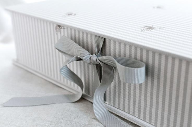 Bee Pinstripe Swedish Grey by Peony and Sage Keepsake boxes