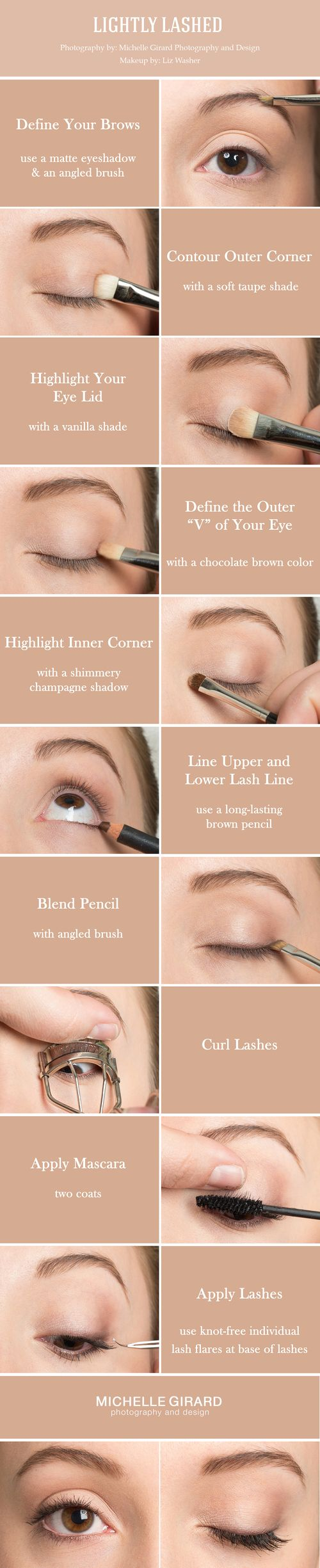 Clean, Natural Makeup Tutorial with Lovely  Lashes :: Inspired by Shailene Woodley :: As seen on Style Me Pretty :: Liz Washer Makeup :: Michelle Girard Photography  Design