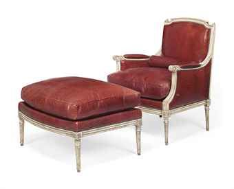 LOUIS XVI-STYLE GREY-PAINTED DUCHESSE BRISEE  FIRST HALF 20TH CENTURY, IN THE MANNER OF MAISON JANSEN  The fauteuil and tabouret each with channelled frame and on turned tapering stop-fluted legs, covered in brown leather embossed to simulate crocodile skin, with one bolster cushion and each with a squab cushion