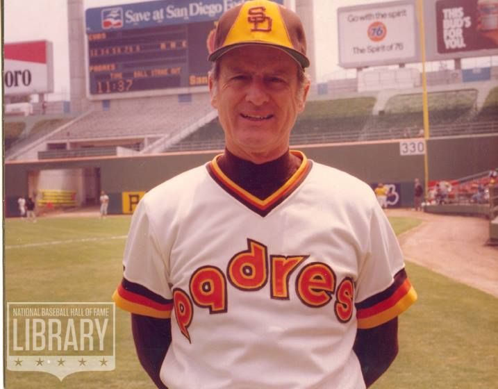 Jerry Coleman - 1980. I love the backdrop there of 'old' San Diego Stadium....before that Murph thing happened...