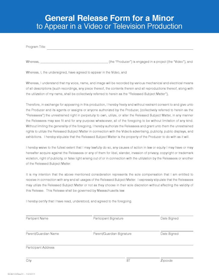 General Release Form for a Minor