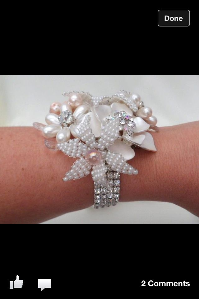 Wrist brooch corsage. Add in an orchid or two, perfect MOB corsage