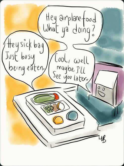 Airplane food joke.