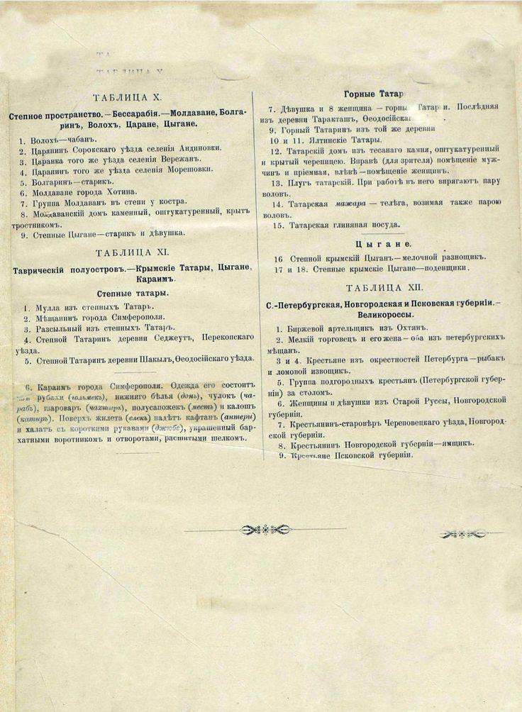 Русские народы - описание к Бессарабии, Таврическому полуострову, Горным Татарам и Великороссам