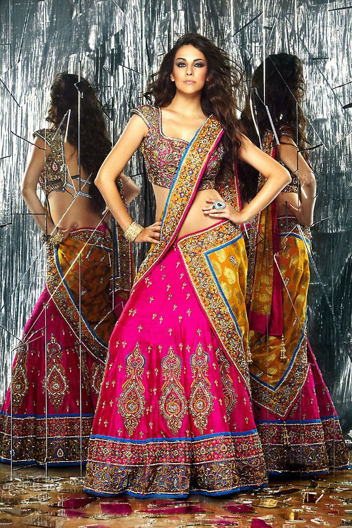 fuschia and yellow saree/lehenga  see more inspiration @ http://www.modernrani.com