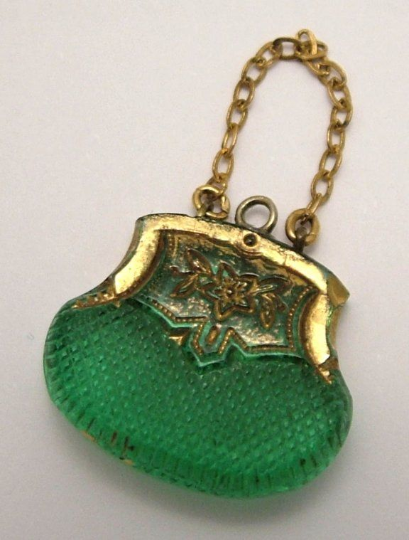 Edwardian Czech glass handbag charm. www.sandysvintage... Clothing, Shoes & Jewelry : Women : Handbags & Wallets : Women's Handbags & Wallets hhttp://amzn.to/2lIKw3n