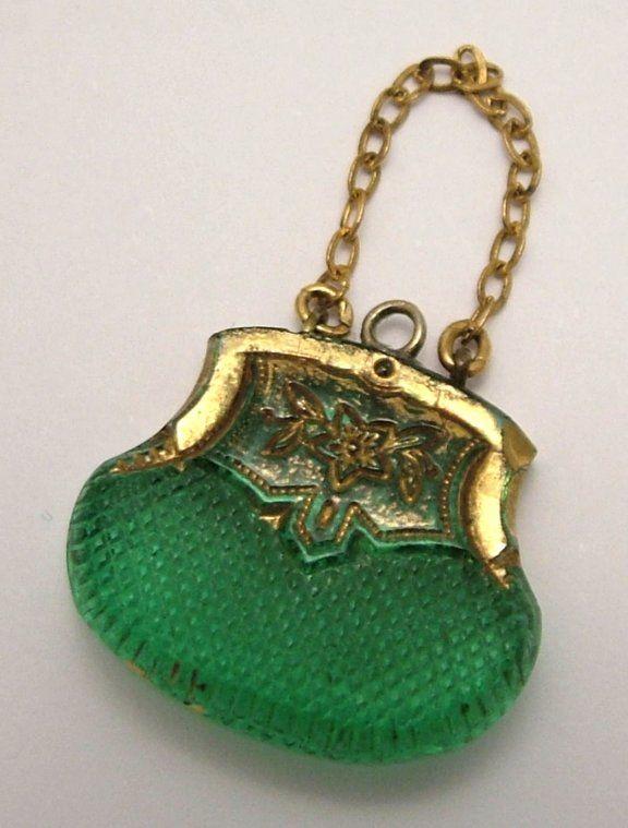 Edwardian Czech glass handbag charm. www.sandysvintagecharms.com