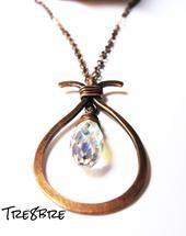 Lacrima - necklace in copper and Swarovski cristal drop, by Tre8bre