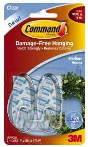 Command Medium Hooks, Clear, 2-Hook, 6-Pack by Command. $20.36. Amazon.com 3M Adhesive Technology Command products offer simple, damage-free hanging solutions for many projects in your home and office. Simplify decorating, organizing, and celebrating with an array of general and decorative hooks, picture and frame hangers, organization products, and more. Thanks to the innovative Command adhesive strips, you can mount and remount your Command products without...