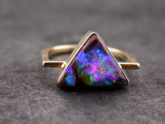 Australian Boulder Opal 14K Gold Ring Blue by sasajewelry on Etsy