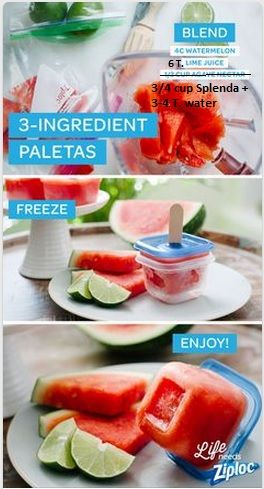 Watermelon Lime Paletas: 4 cups diced watermelon, juice of 3 limes = 6 T. lime juice. Instead of agave nectar use sugar substitute to = 3/4 c. sugar + 3-4 T. water.