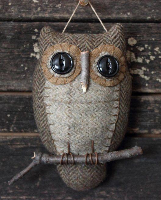 Primitive Owl Folk Art Ornie