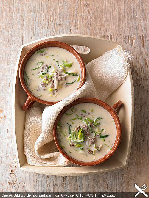 Käse - Lauch - Suppe mit Hackfleisch, ein raffiniertes Rezept aus der Kategorie Eintopf. Bewertungen: 436. Durchschnitt: Ø 4,5.