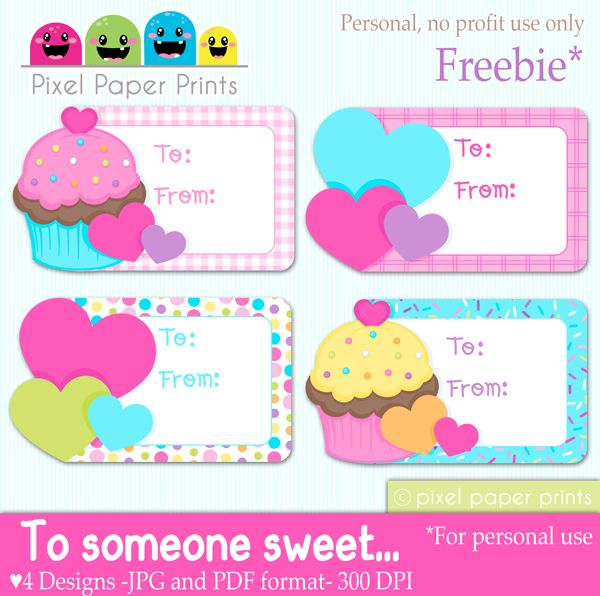 Free Valentine Cupcake Tags Clipart