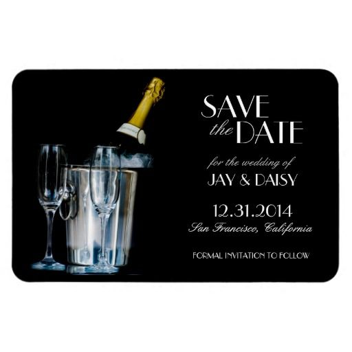Champagne New Years Eve Gatsby Formal Save the Date Magnets #Wedding #HolidayWedding #FormalWedding #FormalSavetheDate #GatsbyWedding #GreatGatsbyWedding #GatsbySavetheDate #NewYearsWedding #NewYearsSavetheDate