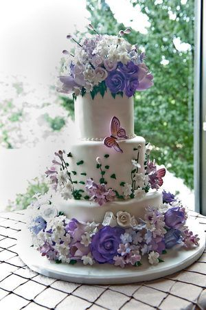 green velvet wedding cake google search  Elaborate Wedding Cake with Purple Flowers