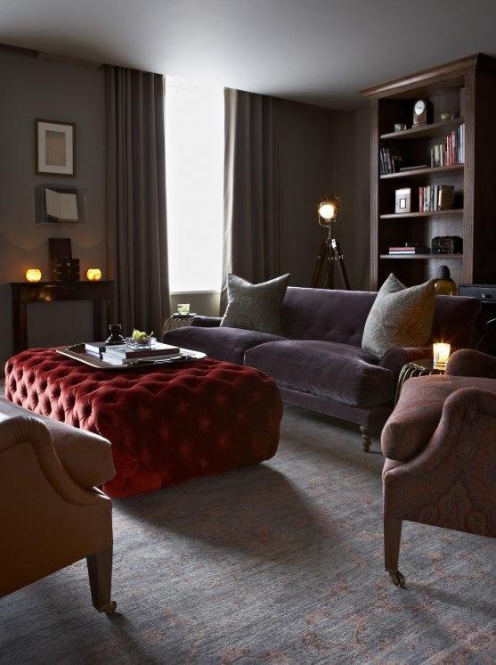 LOVE that cherry red on the ottoman! Knightsbridge 1 - Portfolio | Godrich Interiors