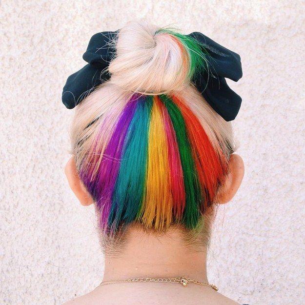 Mèches du dessous arc-en-ciel | 17 couleurs de cheveux que vous pouvez porter pour le travail