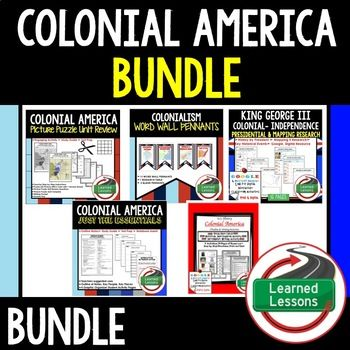 COLONIALISM BUNDLE - Colonialism Word Wall Pennants  -13 Colonies Research Cube  - Colonialism Timeline Activities with Google Link   -Colonialism DBQ  -Important Documents in US History Word Wall  -Important Documents in US History Anchor Charts  -COLONIAL AMERICA Picture Puzzle Unit Review, Study Guide, Test Prep  -Colonial America Outline Notes JUST THE ESSENTIALS  -American Colonies- American Revolution (King George III) Mapping and Research Interactive Notebook in Print and Google…