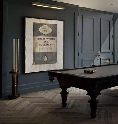 Awesome billiard room.  Love the dark walls in this space